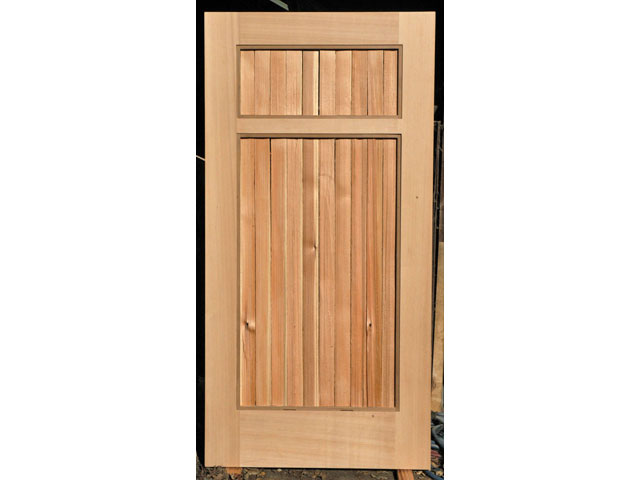 Garden gate with grape stake slats