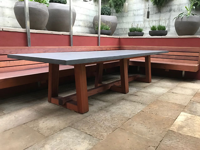 Redwood table and seating